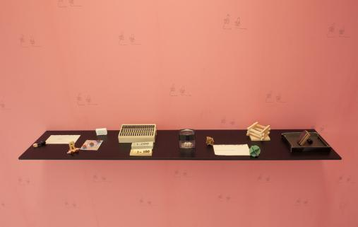 Runo Lagomarsino, A Conquest Means Not Only Taking Over (II), installation with wallpaper, drawings, photographs, objects, and shelves 2010-11 Courtesy Elastic, Malmo and the artist
