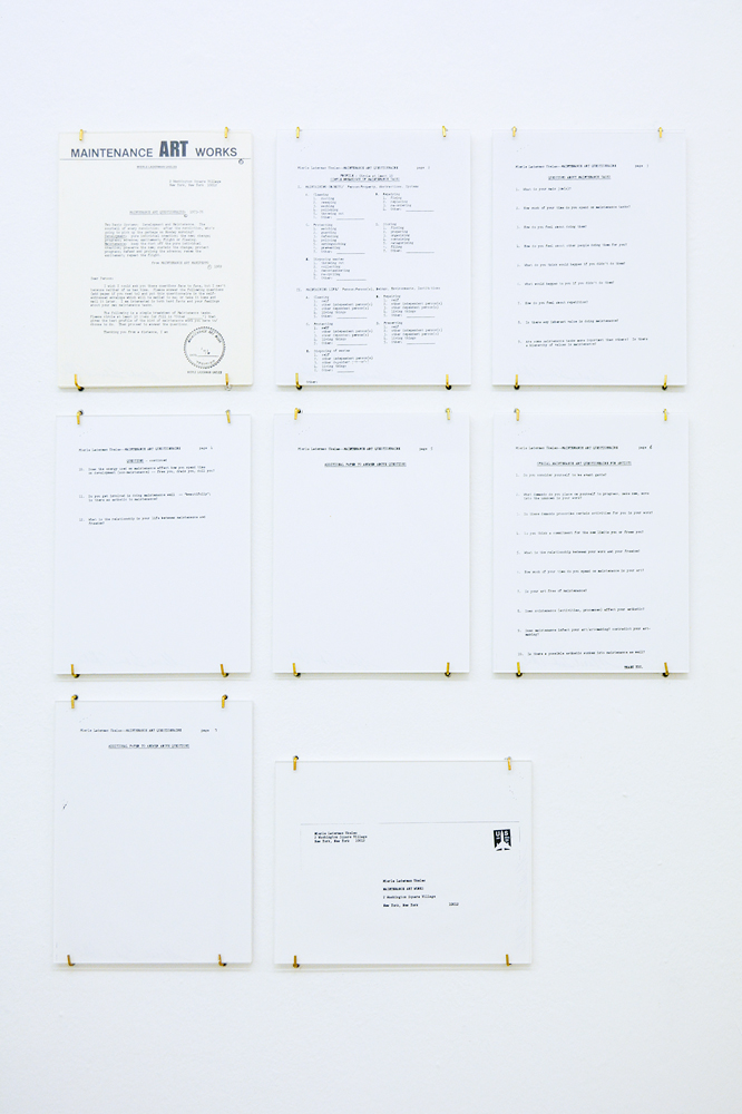 Mierle Laderman Ukeles Manifesto for Maintenance Art, Proposal for an Exhibition Care, 1969, text pages (2) 19 x 13 inch mounted text panels. Courtesy of the artist and Ronald Feldman Fine Arts, New York, photo by aneres